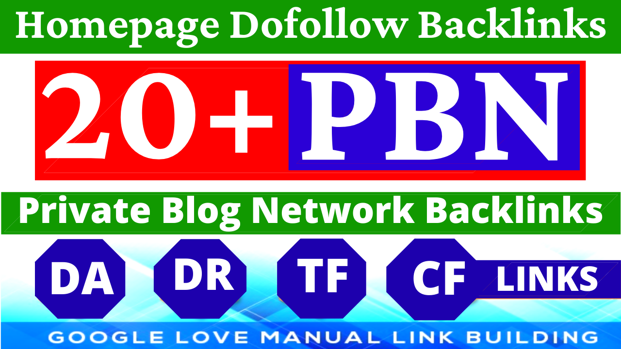Permanent 20 Homepage PBN Backlinks All Dofollow HQ Backlinks with unique websites