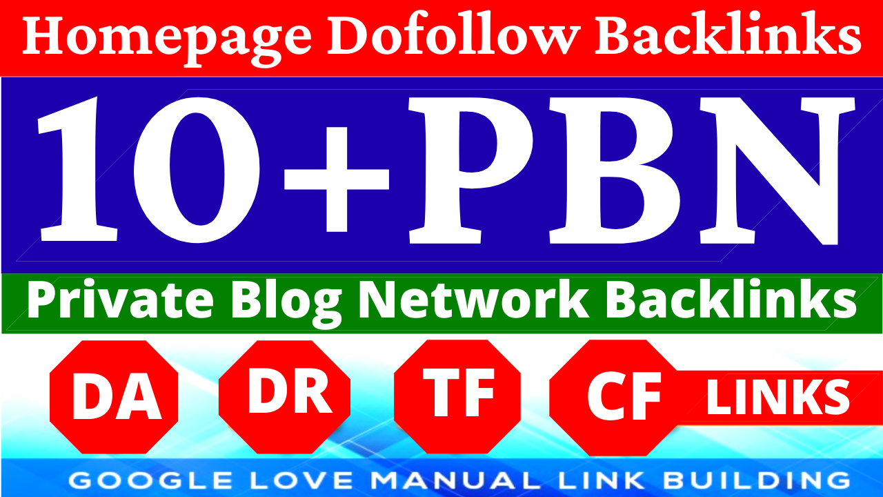 Permanent 10 Homepage PBN Backlinks All Dofollow HQ Backlinks with unique websites