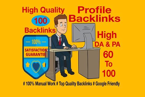 create 100 high da and pa profile backlinks