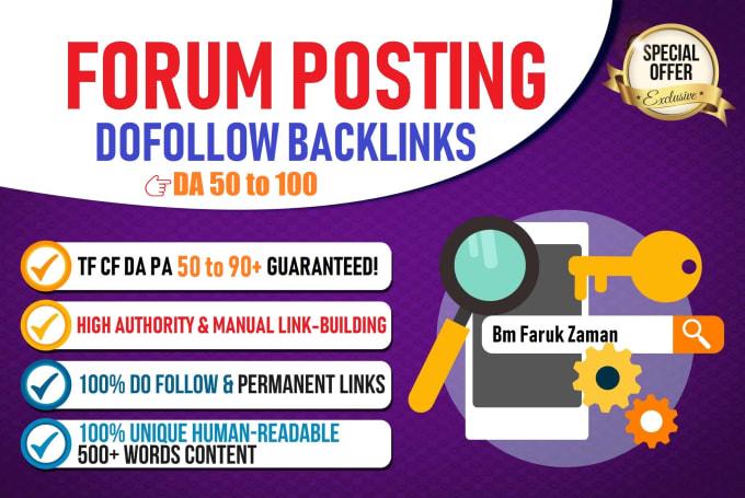 i will do 40 SEO backlinks by forum postin in high DA Sites