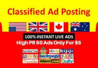 I Will Provide 50 Manual Classified USA Ads Posting for Google rank.