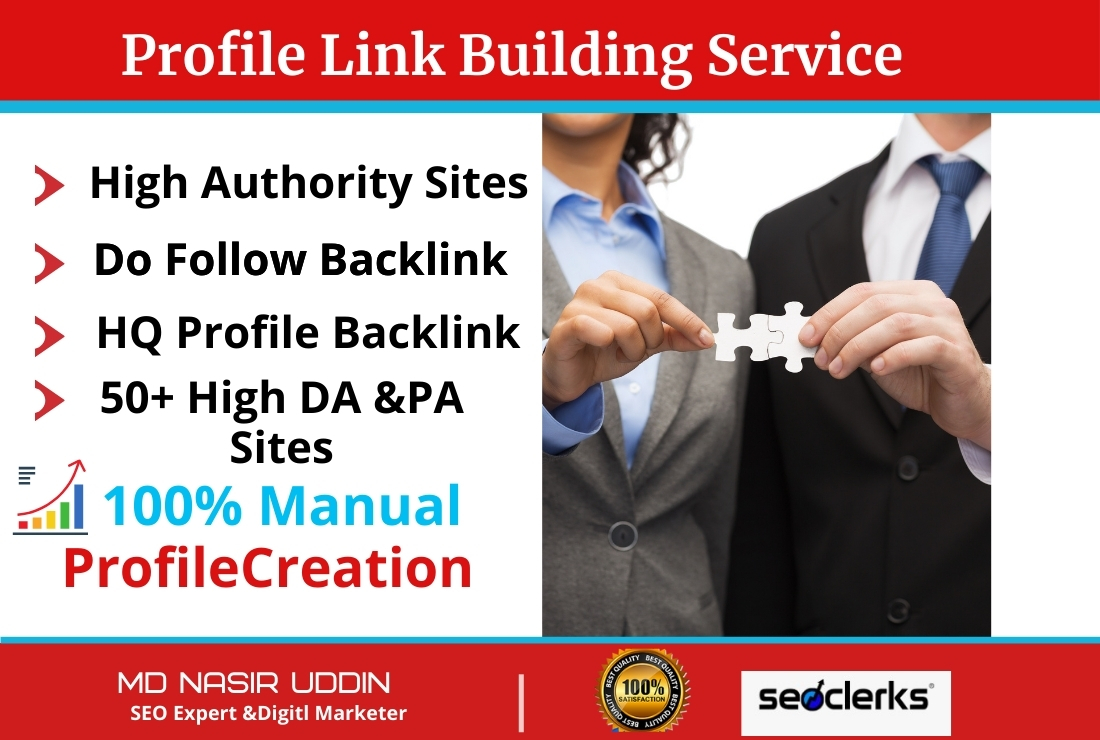 I will build up manually Powerful Unique High Quality 30 profile backlinks