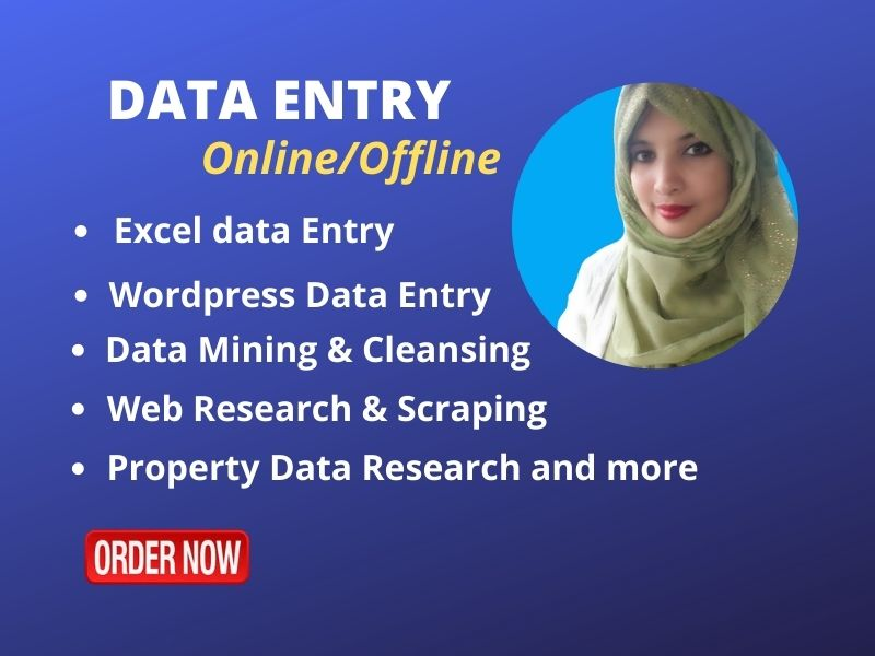 I will be your virtual assistant for Data Entry,  web research & scraping