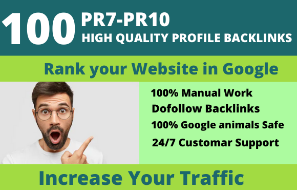 I Will Create 100 pr9 High Quality Dofollow Profile Backlinks