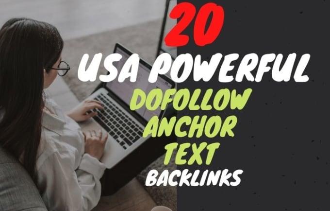 I will do 20 powerful USA link building dofollow seo backlinks anchor text