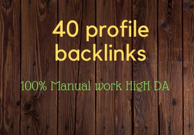 I will create 40 High DA Quality Profile Backlinks