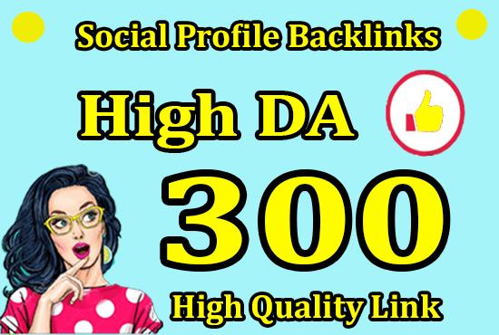 I will do 300 social media profiles for high da pro SEO backlinks