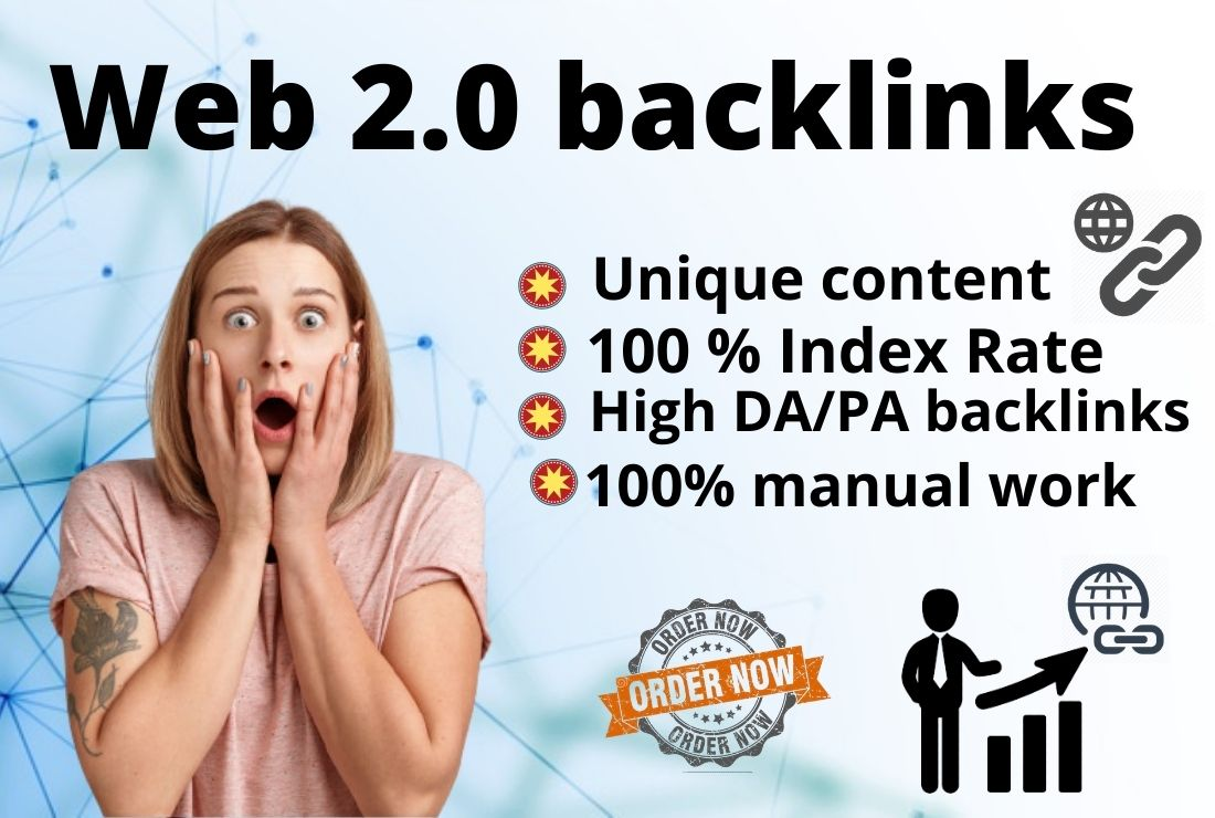I will create manually 20 high authority Web 2.0 Backlinks to boost your site.