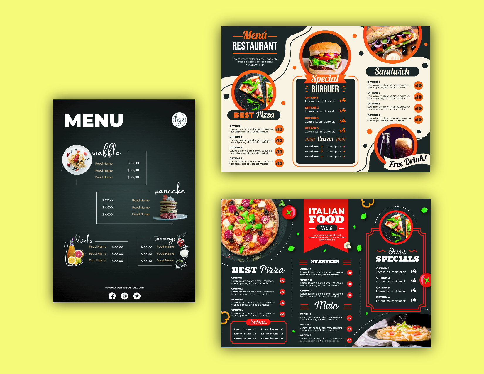 I will provide restaurant menu design or food menu design
