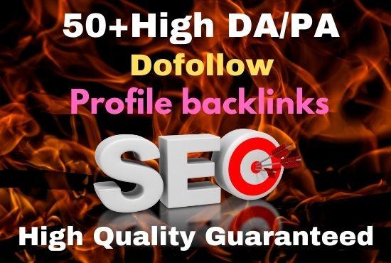 Manual 50+ dofollow profile backlinks High DA/PA Site