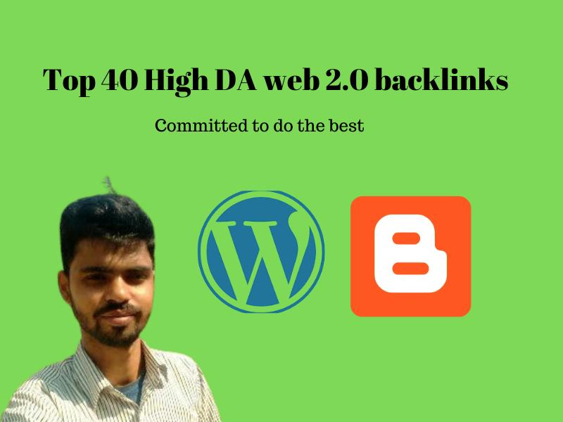I will create top 40 high domain authority web 2 backlinks