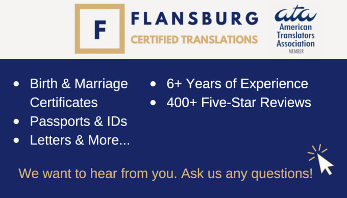 I will provide you a certified spanish to english translation or vice versa