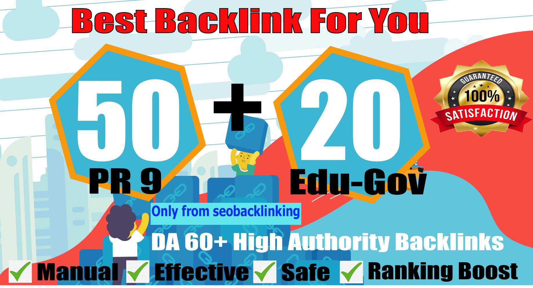Super Quality Do 50 PR9+20 EDU-GOV Powerful Seo Backlink Permanent Links Increase Google Ranking