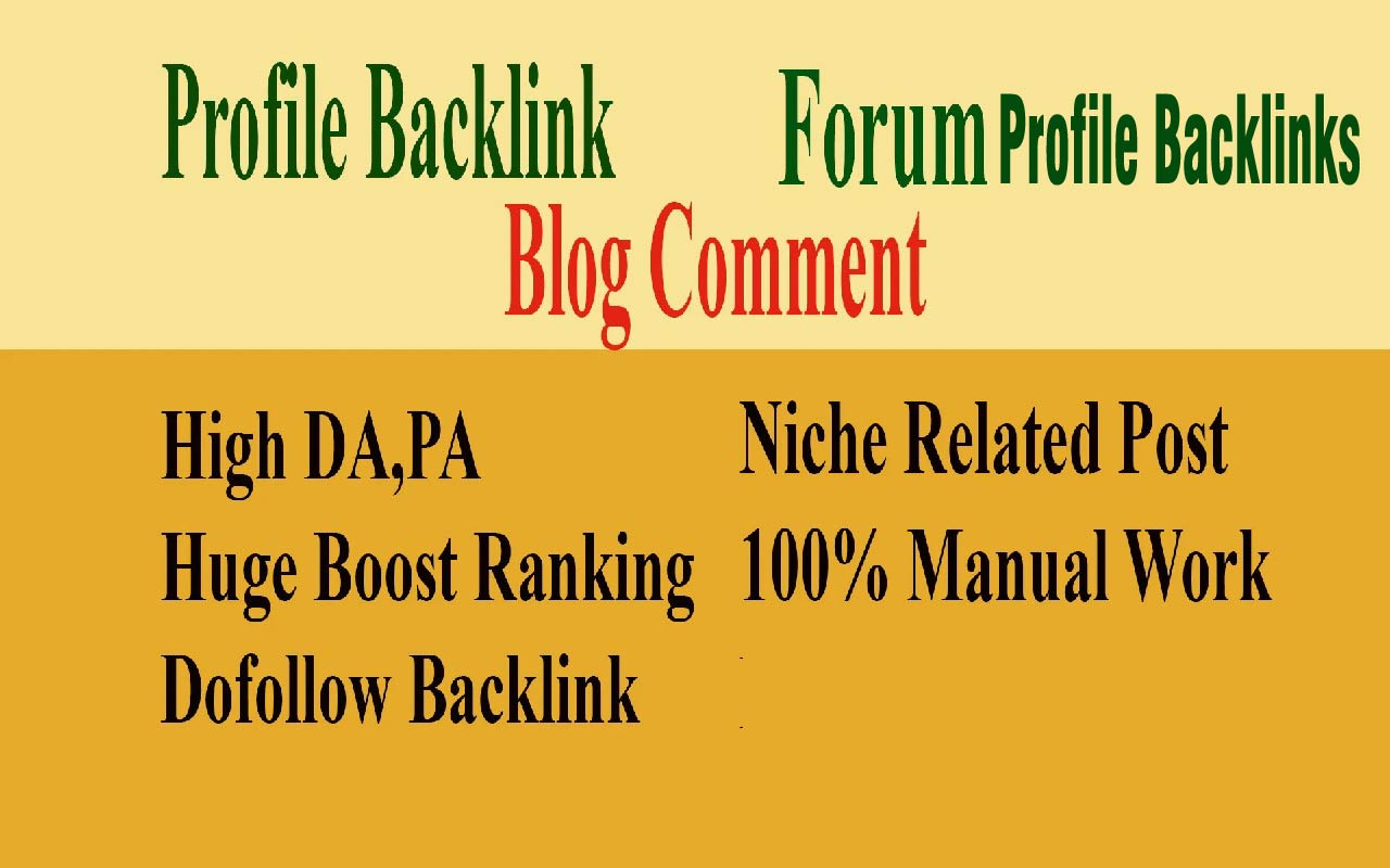 Create 600 manually profile backlink,  blog comment and forum Profile dofollow backlinks