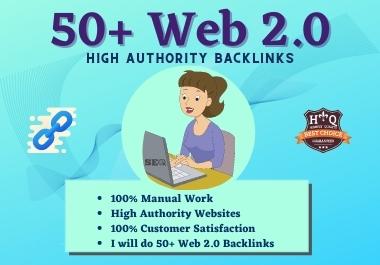 I will provide Permanent 50+ Web2.0 High DA/PA Dofollow unique Backlinks Spam score less 5