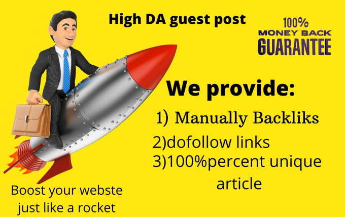 I will publish high da guest post with dofolllow backlinks