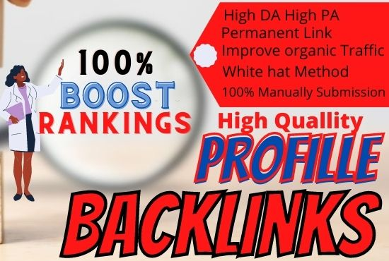 Manually Provide 80 High Quality SEO Profile Backlinks For Boost Ranking,  Link Building