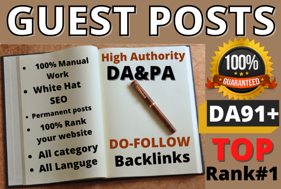 I will publish 5 High-quality Guest Posts. Different Websites and any category Writing and publish