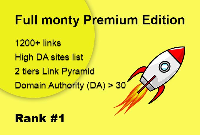 The full Monty Premium Edition High DA sites list Full Backlink campaign