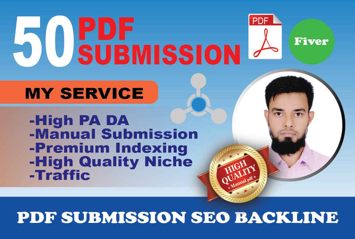 I will do Submit PDF submission To 50 High Authority Document Sharing Site
