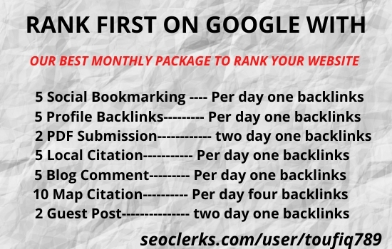 Off page SEO backlinks Monthly package update your URL in Google