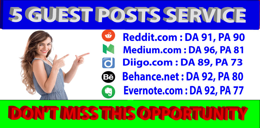 I will write and publish 5 guest posts On High DA/PA sites
