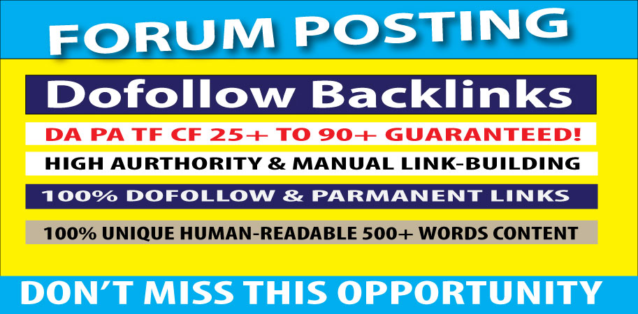 Create 60 Forum posting on high authority sites and manual link Building