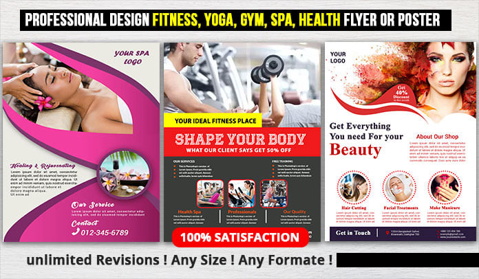 I will design professional fitness yoga gym flyer or poster