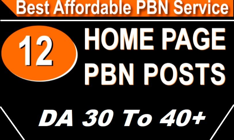 Homepage 12 PBN High Domain Authority DA 20 t0 50+ Backlinks