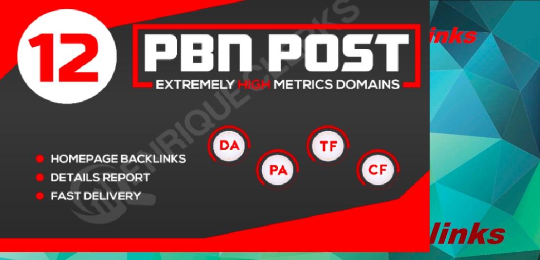 Create 12 High Da 20 To 50+ Homepage PBN Backlinks To Boosty your SERP