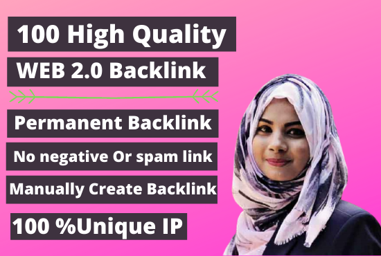 I will Create Manually 100 Web 2.0 High Quality Backlinks