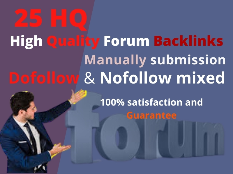 I will create HQ 25 Forum Backlinks general manually