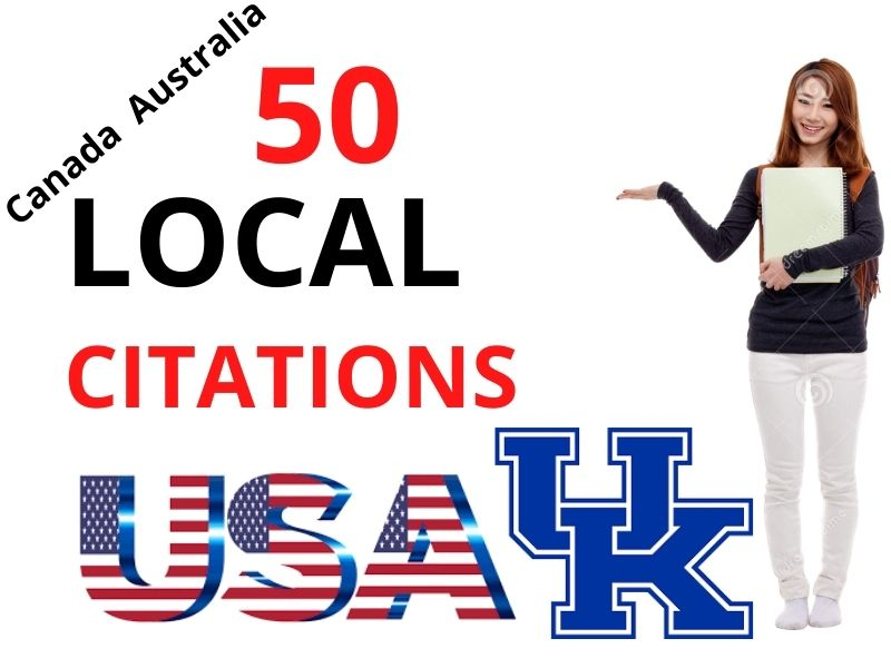 High Quality manually 50 Local Citations for USA,  UK,  Australia & Canada in your Business