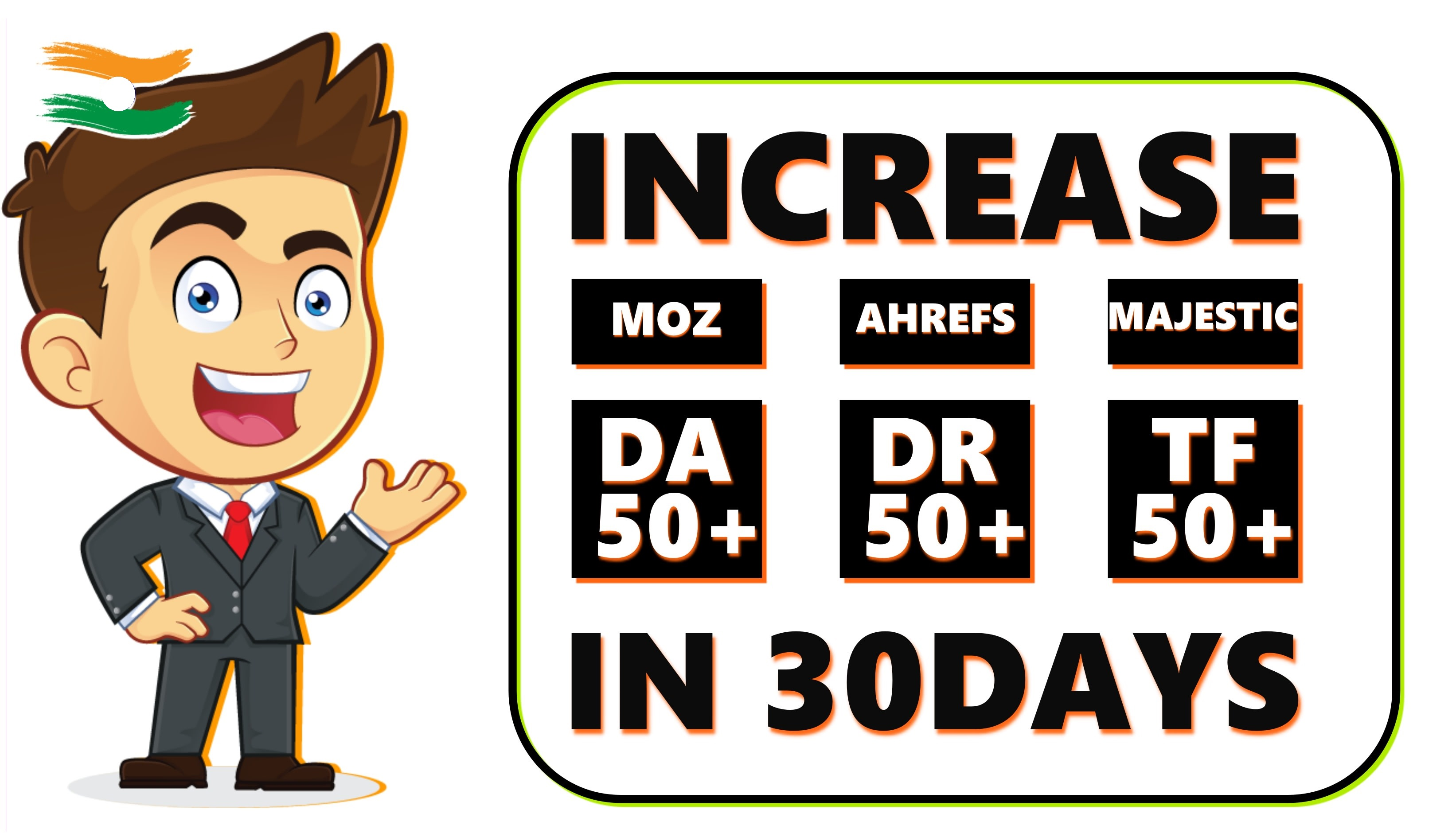 I will increase da DR 50+ and tf 50+ of your domain