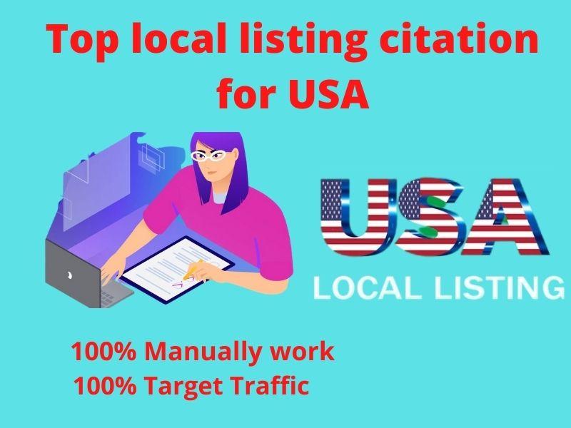 I will do top 20 local listing citations for USA