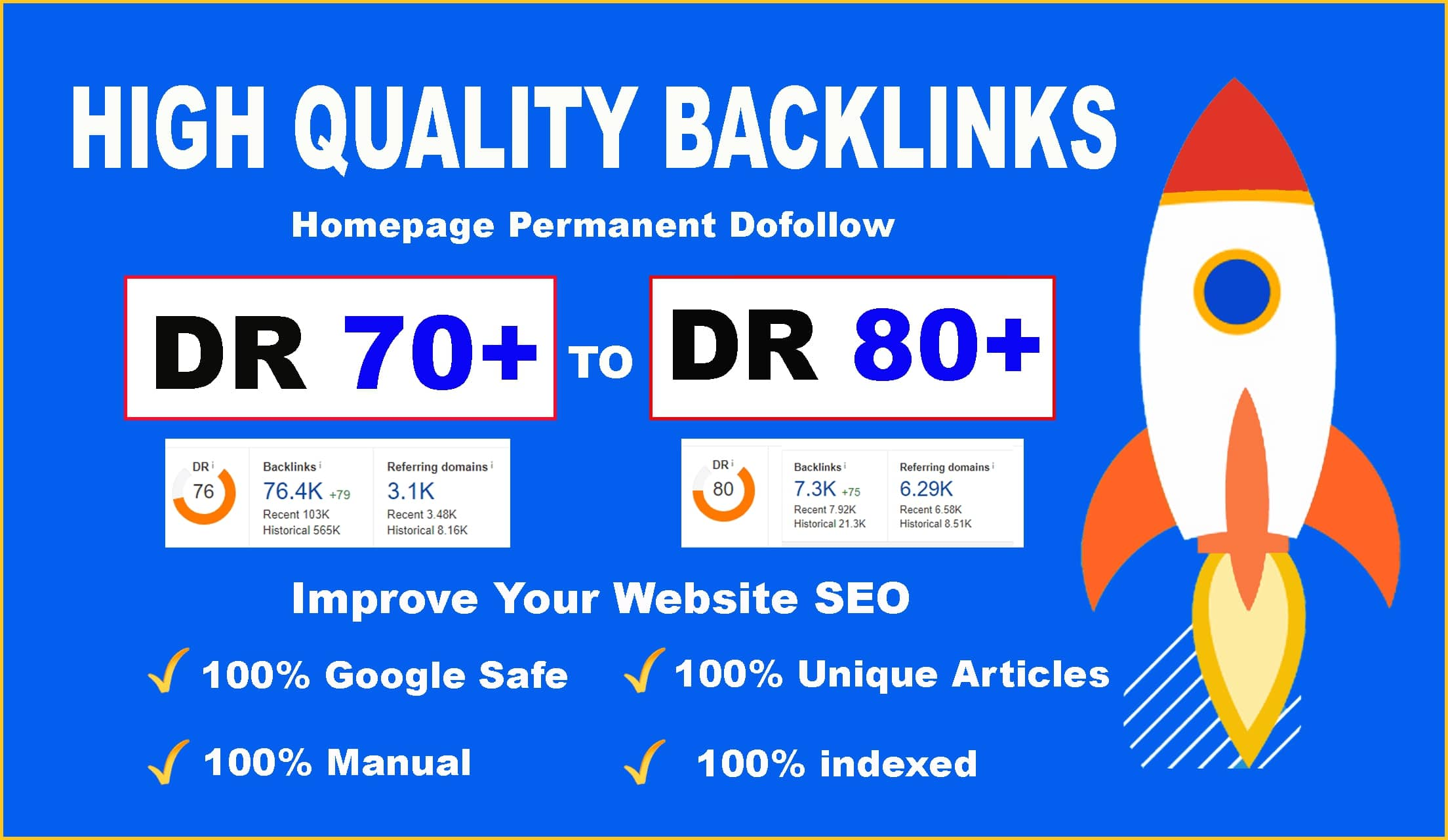 I will make 100 high authority manual backlink