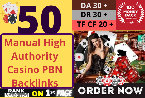 50 Casino,  Poker and Gambling PBN Backlinks high da pa links with aged domains and fast delivery