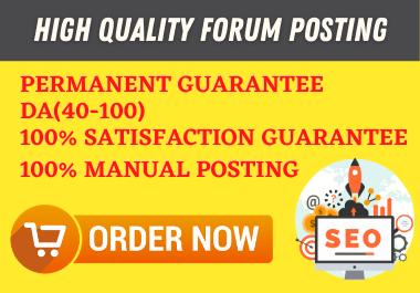 I will create 30 manually HQ Forum Posting Backlinks