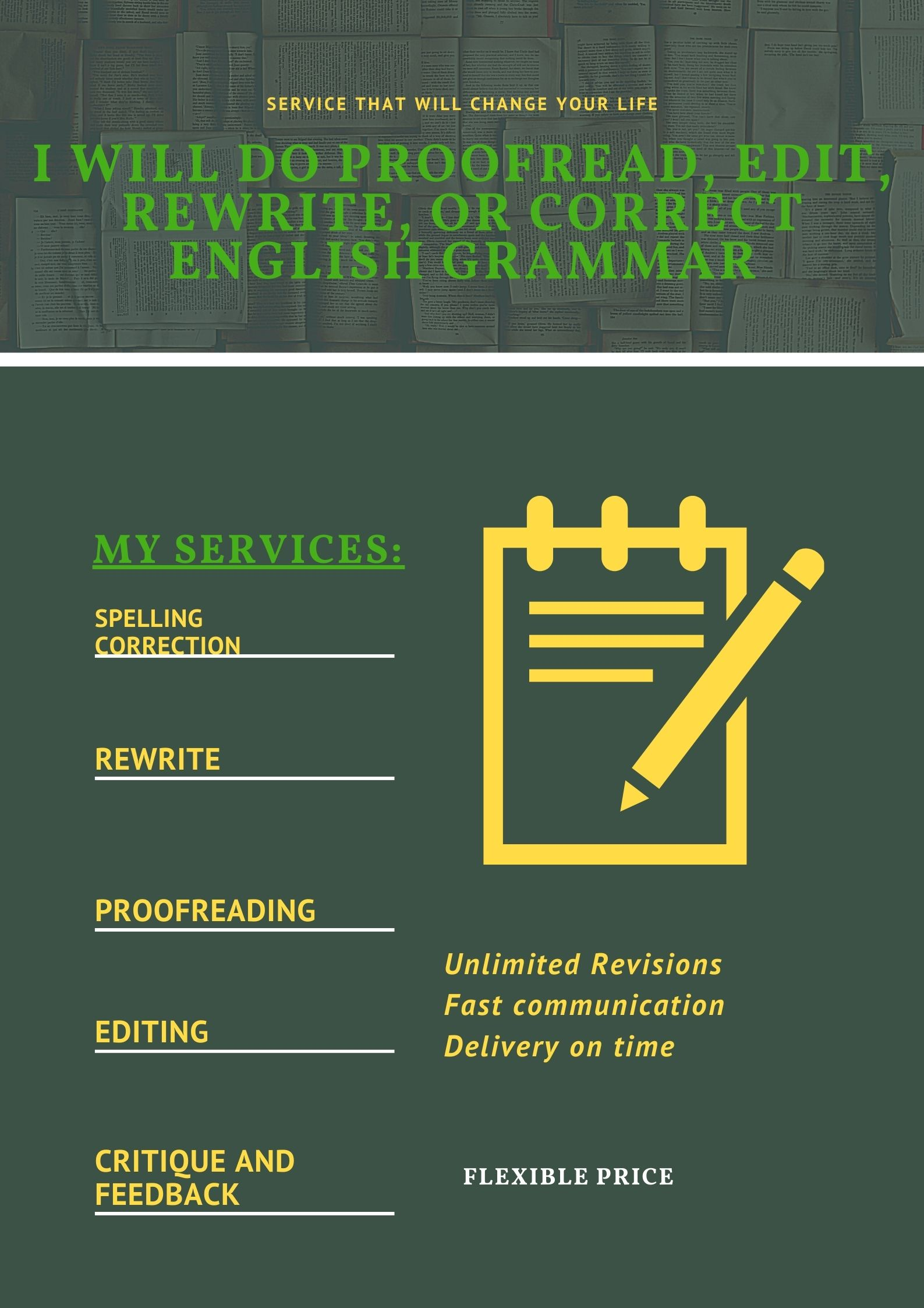 I will do proofread,  edit,  rewrite,  or correct english grammar