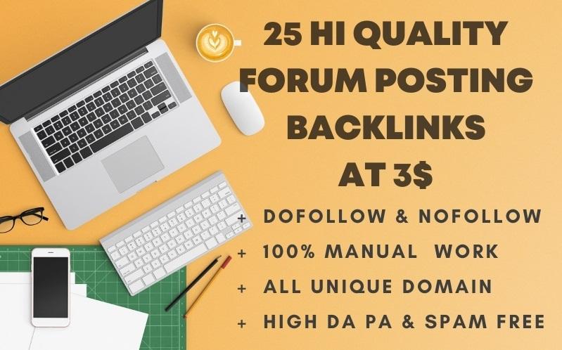 I will create 25 high quality forum backlinks