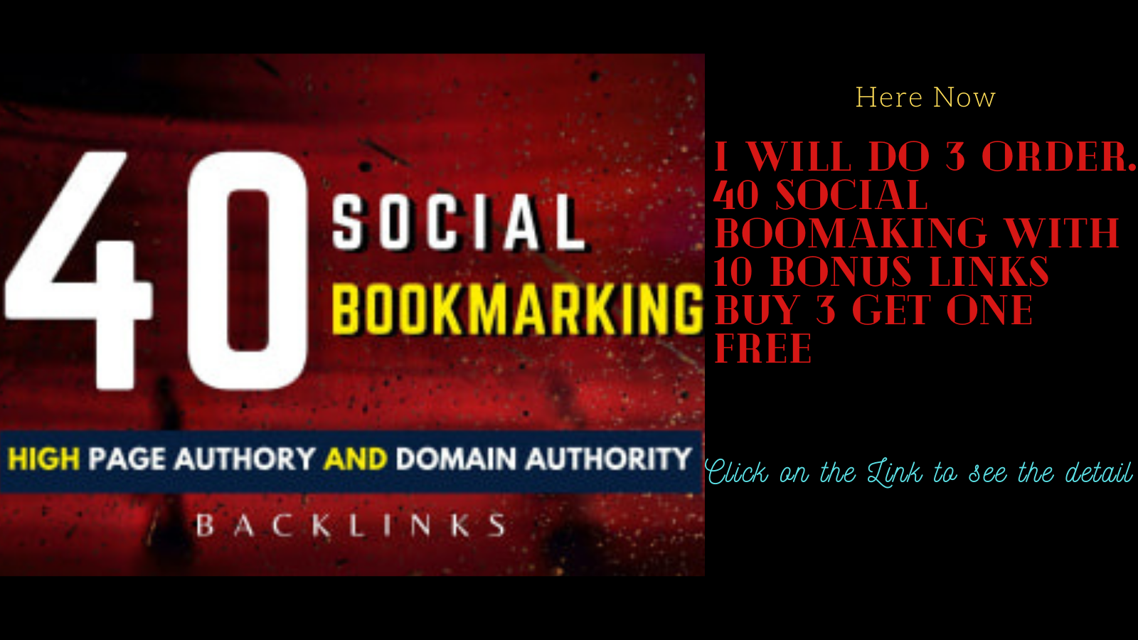 I will do 10 order. 40 social Boomarking High Domain Authority 45 To 90