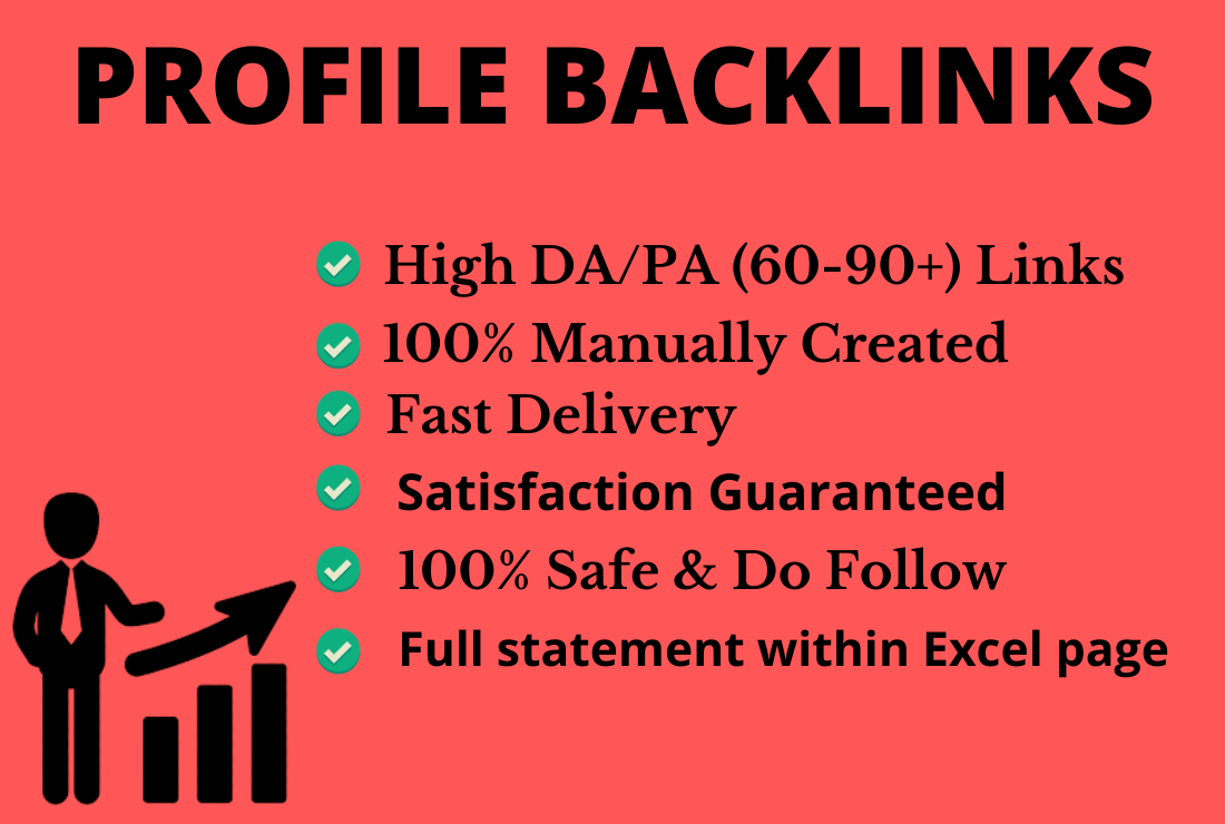 I will Provide you Manually 100 High Authority and High PA/DA Profile Backlinks for Off page SEO