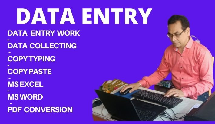 I will do excel data entry,  copy paste,  typing job.