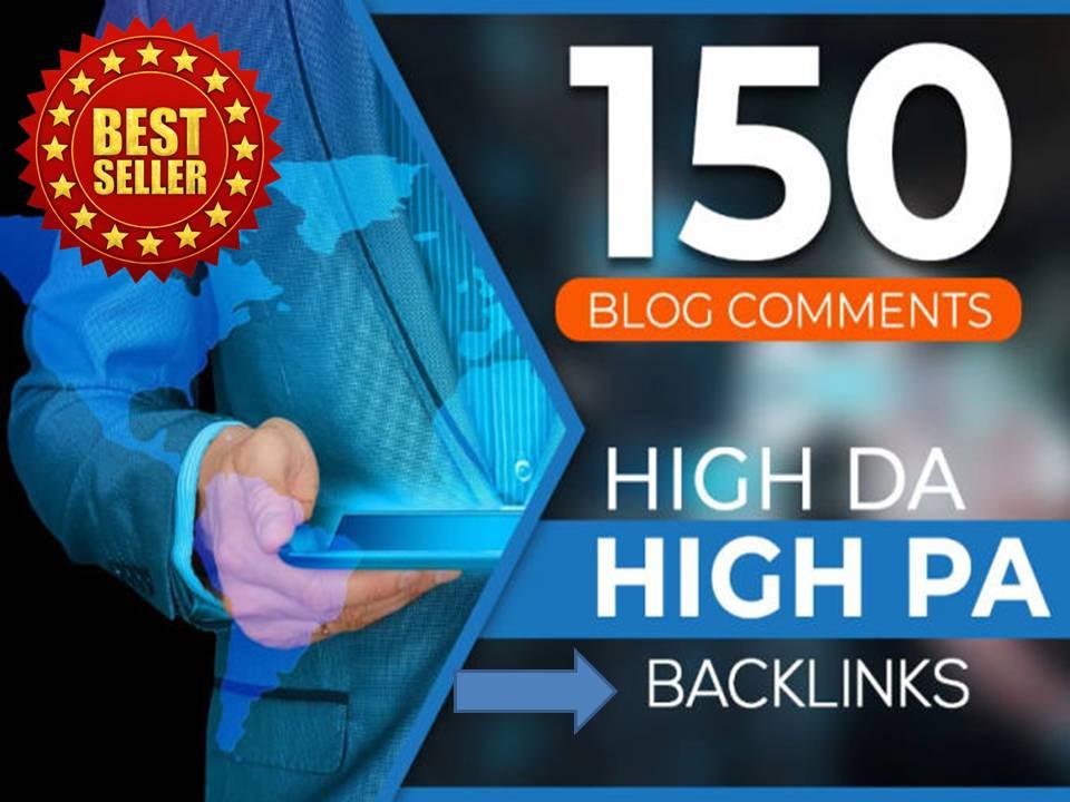 i will provide 150 unique blog comments high DA backlinks