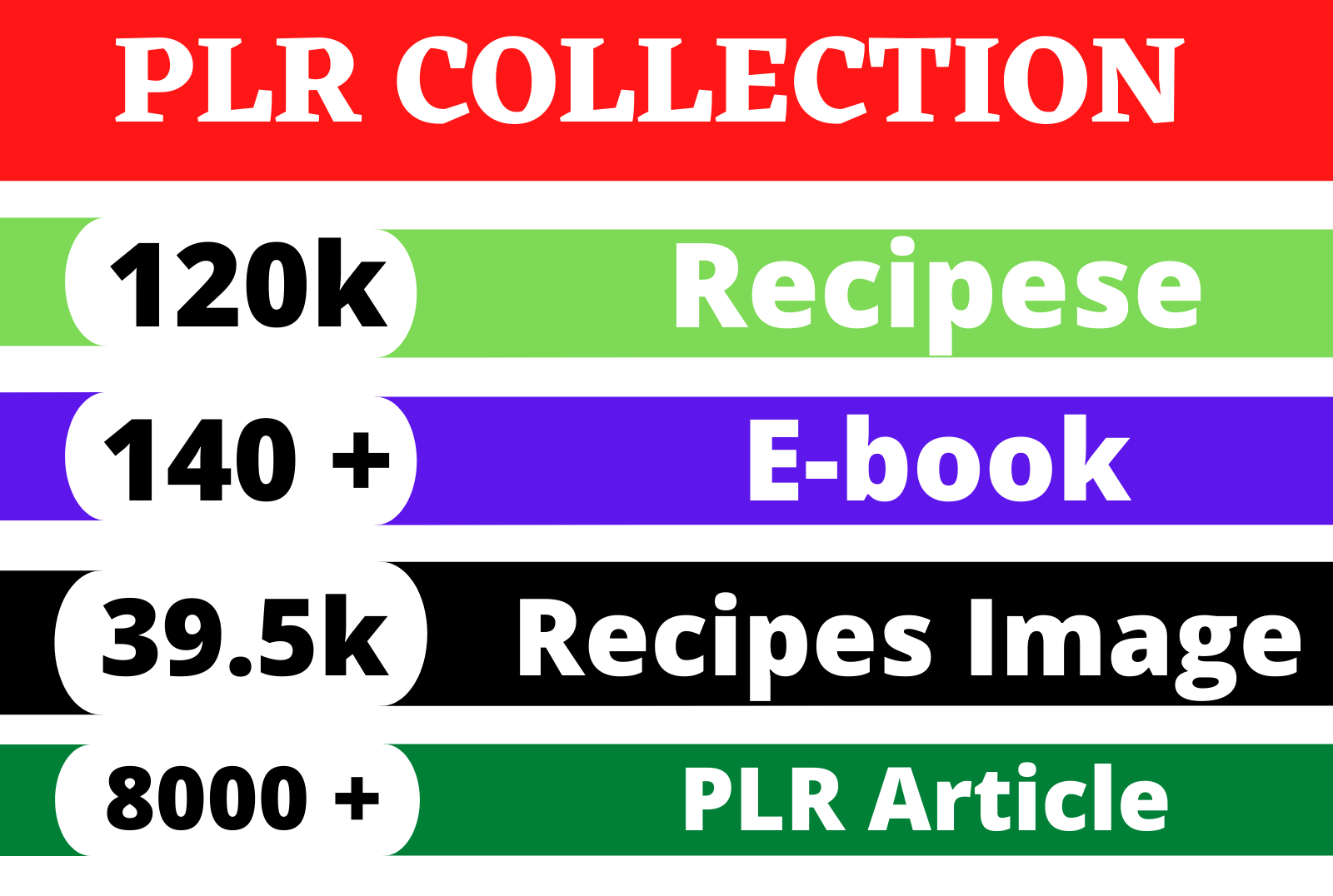 I Will give 120k Recipes,  eBook,  and 8k Private label rights articles