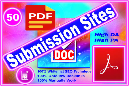Best 50 PDF submission permanent backlinks to sharing sites.