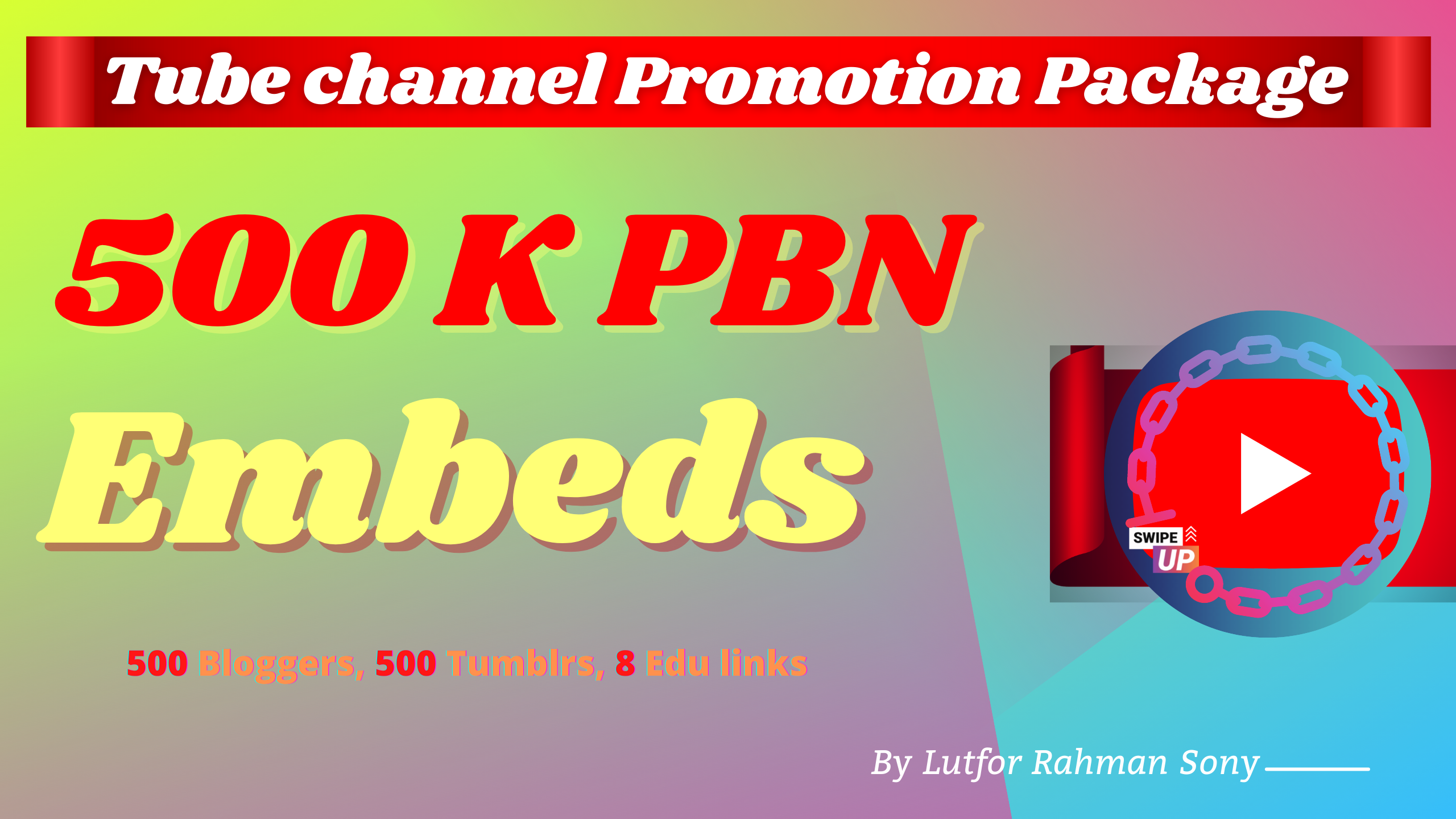 Video Channel Marketing - 500K Embeds + 200 Blogger, 200 Tumblr & EDU backlinks