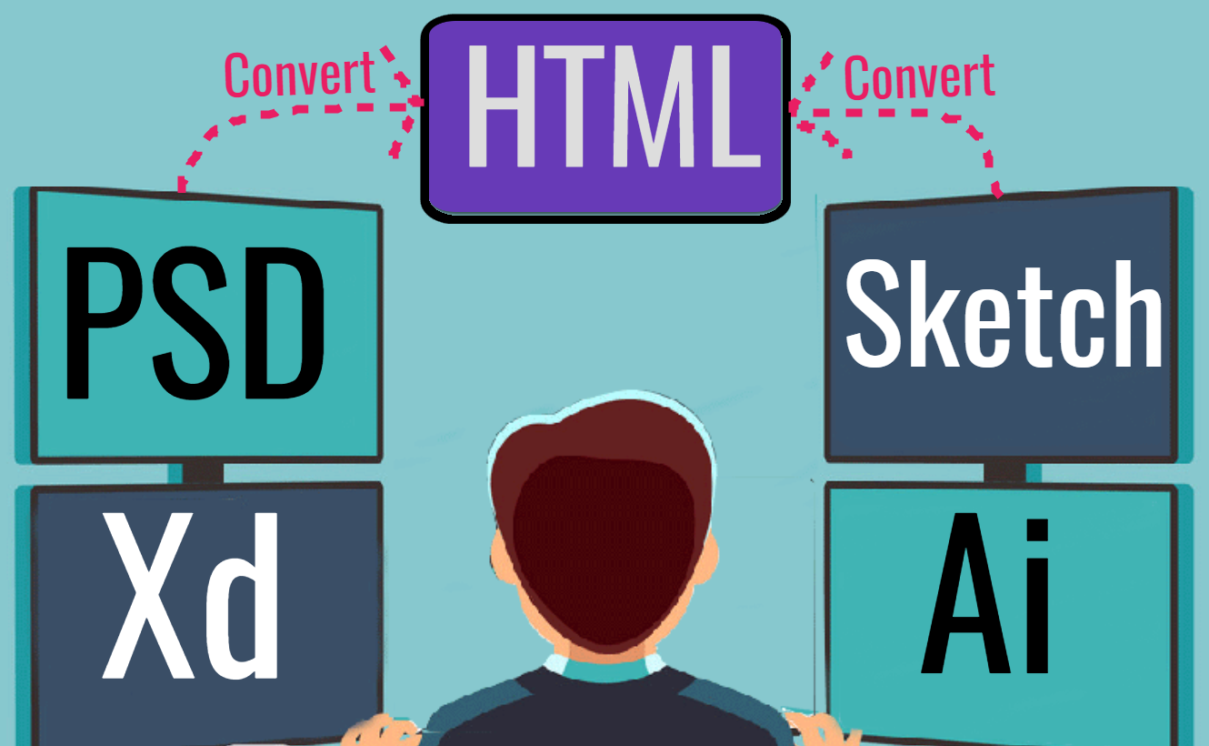 Convert PSD to HTML,  XD to HTML,  Ai to HTML,  Sketch to HTML
