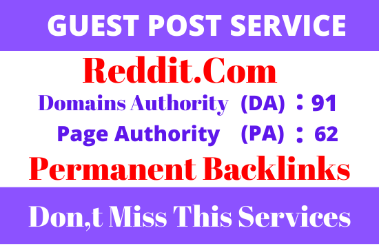 DA91+write and publish guest post on reddit. com