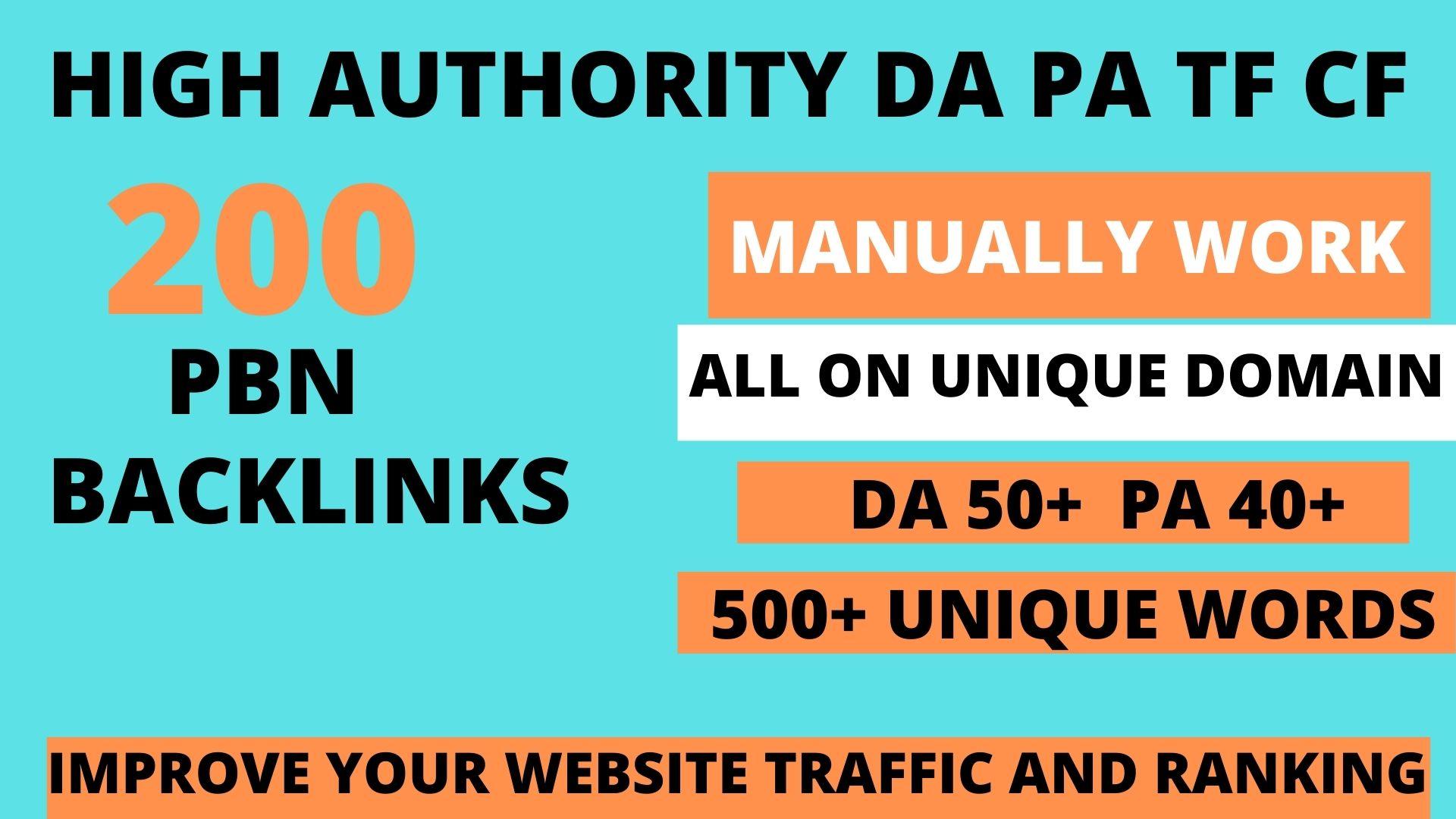 Build 200 web 2.0 DA 50+ PA 40+ TF CF Permanent Dofollow backlink